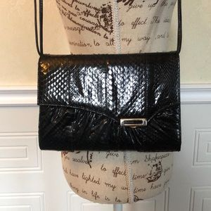 Handbags - Vintage Reptile and Leather Flap Purse